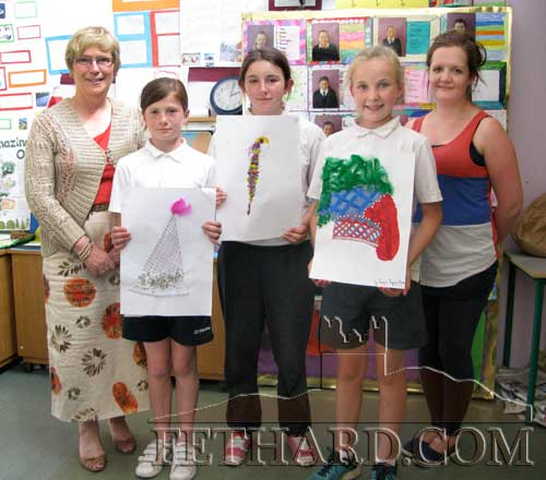 Photographed are the 'Design a Medieval Hat' competition winners at Holy Trinity National School L to R: Ms Patricia Treacy (Principal), Nell Spillane (3rd), Andrea Pike (1st), Emma Jane Burke (2nd) and Ms Róisín Ryan (teacher).