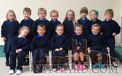 Moyglass National School's Junior Infant Class that started school on August 28. Back L to R: Georgia Cleary, Stevie Skehan, Oisín Murphy, Freya Doran, Aisling McGrath, Lilly Hall, Mary Kate Fogarty, Sam Knightly. Front L to R: Rylii McGrath, Andrew Munro, Caoimhe Cleere, Nikki Hayes and Ben Browne.