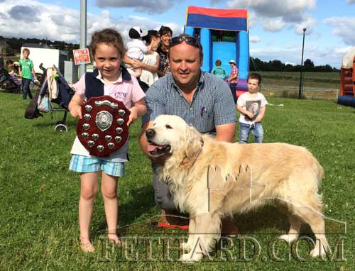 The dog show for the Moyglass Kennels Perpetual Trophy was won by the golden retriever 'Freddie'. The trophy was presented to winning owner, Orla Tynan by John Smullen who also very kindly judged the show.