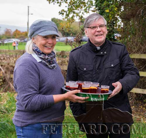 Marion Goodbody serving refreshments to Canon Tom Breen P.P. at the Opening Meet of Tipperary Foxhounds
