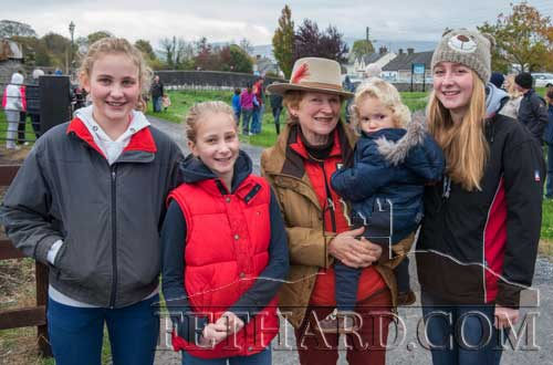 Rosemary Lalor photographed with her nieces at the Opening Meet of Tipperary Foxhounds.