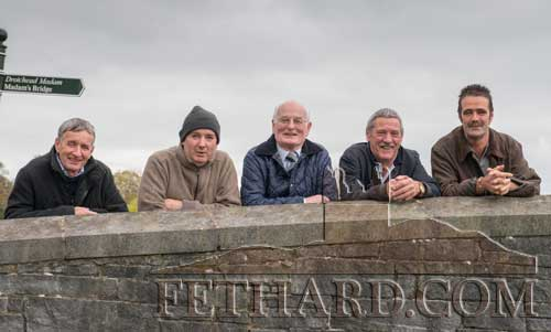 Having a good view of the Oppening Meet by Fethard Town Wall are L to R: Eamon Kennedy, Francis Lonergan, Jimmy Mullins, Michael Shine and Gene Lawrence.