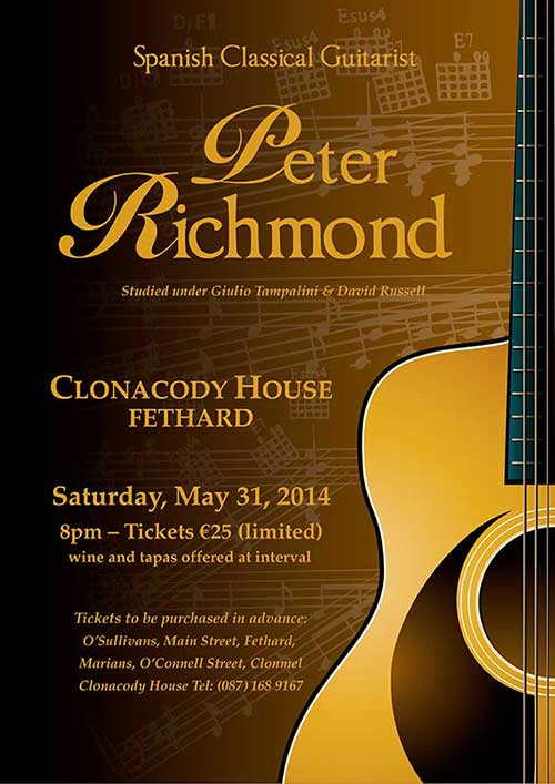 Classical guitarist, Peter Richmond, who studied under Giulio Tampalini and David Russell, will play an intimate performance at Clonacody House on Saturday, May 31 at 8pm. This unique performance in a unique setting provides the perfect setting for a very entertaining evening of classical Spanish guitar. Wine and tapas will also be included at the interval. Tickets (limited) at €25 are available from Clonacody House Tel: 087 1689167, or from O'Sullivan's Chemist, Fethard, and Marian's, O'Connell Street, Clonmel.