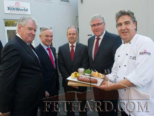 announcement of 100 jobs at the RibWorld Factory yin Fethard. L to R: Michael Cantwell (Enterprise Ireland), Minister Richard Bruton, John Walshe (RibWorld), Minister Tom Hayes and Noel Higgins (RibWorld)