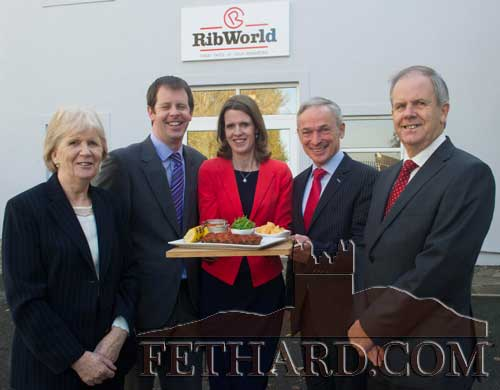 Minister Richard Bruton photographed with members of the Walsh family, owners of RibWorld, at the announcement of 100 new jobs at their new Fethard factory. L to R: Geraldine (Walshe) Clohessy, Paul Walshe, Michelle Walshe, Minister Richard Bruton and John Walshe.