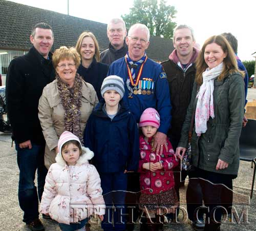 Robert Phelan photographed with his wife Magaret and members of his family after being conferred with the Order of Cú Chullainn award, the highest level in scouting.
