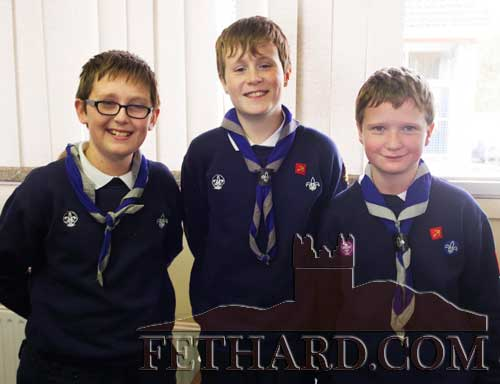 Photographed at the Scouts Remembrance Mass for John Cloonan are L to R: Patrick Kennedy, Ciarán McGuire and Patrick Walsh