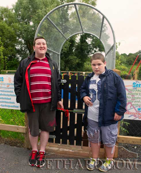 Robin Blake and Cian Hurley who cut the tape at the official opening of the new Sensory Musical Garden at Fethard Playground.