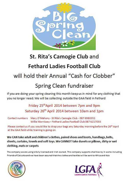 St. Rita's Camogie Club Fethar 'Cash for Clobber' Spring Clean fundraiser