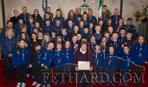 Members of the 27th Tipperary Scout Group photographed at St. Patrick's Day Mass in Holy Trinity Parish Church in Fethard.