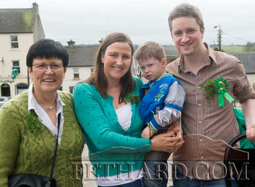 St. Patrick's Day in Fethard L to R: Martha Sheehan, Ailish and John Paul Cooney holding their son Fionn.
