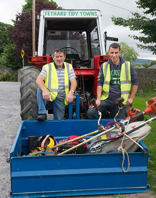 Fethard Tidy Towns members on duty at Watergate L to R: Joe Keane (chairman) and John Nugent.