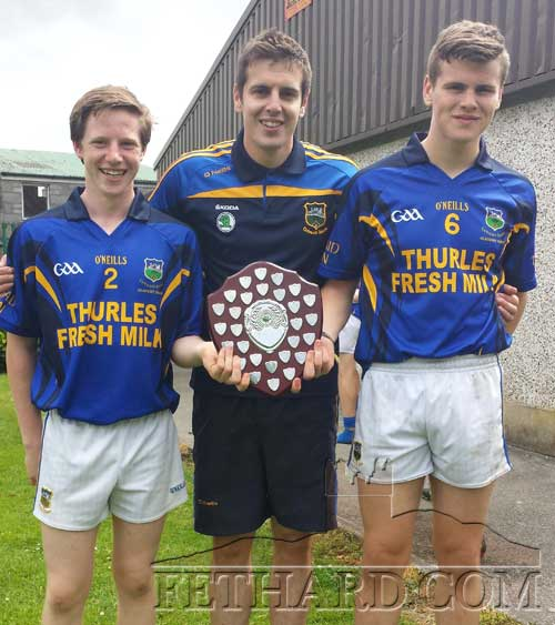 Jack Dolan and Ross McCormack, members of Fethard GAA Club, who were part of the Tipperary U15 football team who took part in the U15 munster football competition. Tipperary won the shield competition beating Clare in the final in Milstreet. Also included is Tipperary team mentor Jamie McCormack (centre) from Fethard.