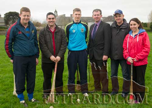 Tipperary senior hurling team captain, Brendan Maher, photographed at a training session at Fethard Patrician Presentation Secondary School. L to R: John Cummins (teacher), Ian O'Connor (teacher), Brendan Maher, Michael O'Sullivan (principal), Stephen Fitzgerald (Fethard GAA) and Helena Walsh (teacher).