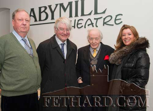 Photographed at Ulick O'Connor's one man show 'The Poetry and Wit of Oliver St. John Gogarty' at the Abymill Theatre are L to R: Bob Lanigan, Dr. Martin Mansergh, Ulick O'Connor and Susan Archdeacon.