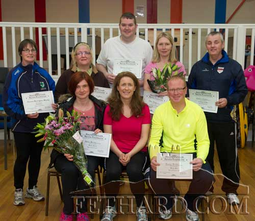 Photographed at the Fethard Operation Transformation Final Weigh-In and Prize Presentation held at Convent Community Hall are Back L to R: Noreen Harrington-Sheehy, Colette Geoghan, Delan Lonergan, Dee Brady, Gabriel Needham. Front L to R: Zane Zorina (ladies winner), Biddy O'Dwyer (leader) and Jimmy Smith (male winner).