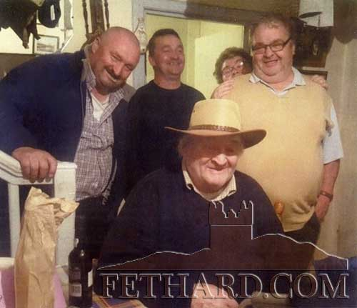 Former Tipperary and MUnster footballer, Tom Keane, Barrack Street, Fethard, photographed on the occasion of his 90th Birthday with members of his family, John-Joe, Cyril, Mary and Michael.