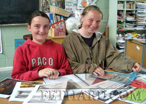 Tracey Needham and Debbie Lawrence from Nano Nagle working on the school's project 'My Favourite Building' June, 2004. The 6th class girls chose the Abymill Theatre as their favourite building and the project was entered in the national Irish Independent Newspaper competition.