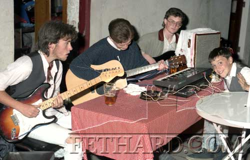 Aidan Ward giging with friends, Ted Connolly and Mervyn Colville back in 1988. Also included is No 1 fan, Gary Lonergan!