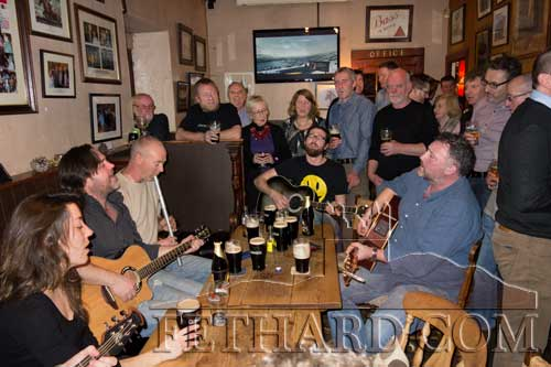 Aidan Ward's musician friends from far and photographed at an impromptu session in McCarthys after his removal to Fethard Parish Church on Thursday, January 1, 2015.