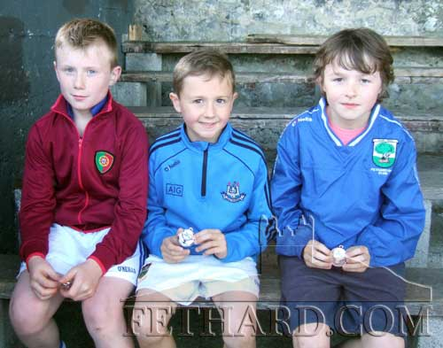 Medal winners in U10 200m event L to R: Matt Coen (gold), Charlie Walsh (silver) and Jack Davey (bronze).