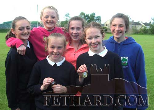 Taking part in the Fethard Area Athletics Finals were Back L to R: Alison Connolly, Carrie Davey, Laura O'Donnell, Lucy Spillane. Front L to R: Heather Spillane and Ciara Spillane.