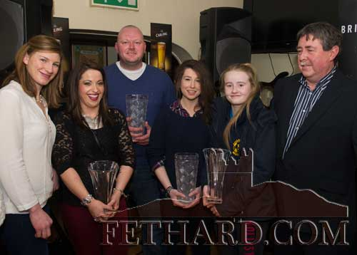 Photographed at the presentation of the Butler's Bar Fethard Annual Sports Achievement Award for 2014 are L to R: Nina Carberry (special sporting guest), Clodagh Sweeney who accepted joint second place award on behalf of her daughter Keri Brett, Paul Fitzgerald (joint winner), Amy Pollard (joint winner), Kate Davey (joint second place) and Philip Butler (proprietor Butler's Bar).