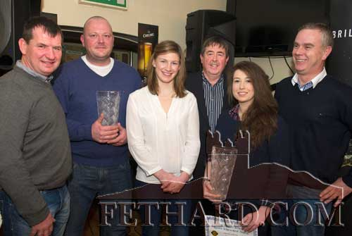 Photographed at the presentation of the Butler's Bar Fethard Annual Sports Achievement Award for 2014 are L to R: Michael Ryan (2013 winner), Paul Fitzgerald (joint winner 2014), Nina Carberry (special sporting guest), Philip Butler (proprietor), Amy Pollard (joint winner 2014), and Tony Lawrence, representing sponsors Molson Coors Brewing Company (Ireland).