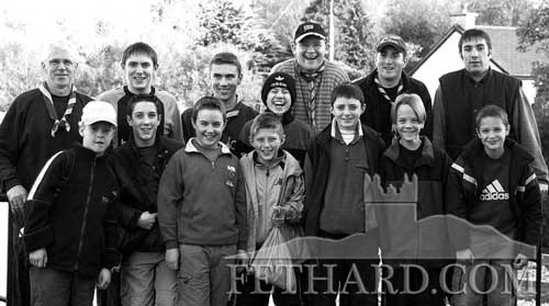 Fethard Boy Scouts and leaders photographed on 14th October, 2000, before heading off to climb the Galtee Mountains. Back L to R: Bobby Phelan, John McCarthy, David Kennedy, Damien Shine, Sean Cloonan, Philip O'Donnell, Richie McCarthy. Front L to R: Dermot Culligan, Fintan Maher, Lory Kenny, Paul McCarthy, Mike McCarthy, Kieran Barrett and Kevin Maher.