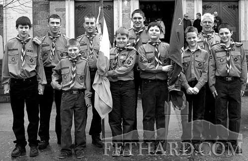 Fethard Boy Scouts who carried their troop and the national flag at St. Patrick's Day morning mass at Holy Trinity Church, Fethard, 2002. L to R: Damien Shine, David Kennedy, Paul McCarthy, Philip O'Donnell, Dermot Culligan, John McCarthy, Declan Doyle, Ciar�n Barrett, Bobby Phelan and Mike McCarthy
