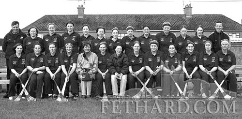 Photographed above are Fethard camogie team who were beaten by Portroe in the County Intermediate League Final 2002. Back L to R: Pat Sheehan, Laiose O'Connell, Jennifer Keane, Niamh Sheehan, Imelda Ryan, Louise Wade, Nora O'Meara, Sandra Maher, Vanessa O'Donnell, Edel Fitzgerald, Audrey Conway, Fiona Conway, Declan Browne. Front: L to R: Jean Morrissey, Sharon (Lawton) O'Meara, Caroline (Fitzgerald) Quinlan, Ailish Sheehan, Annette Murphy (sponsor), Sandra Spillane, Gillian Murphy (sponsor), Joan O'Donnell, Jennifer Fogarty, Lisa McCormack, Marie Houlihan, Mia Treacy and Emily Sayers.