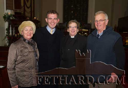 Photographed at the Christmas Carol Service at Holy Trinity Church of Ireland Fethard are L to R: Peig Butler, David Butler, Rev. Barbara Fryday and John Fryday,