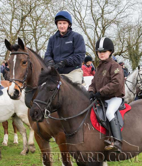 Photographed at the Tipperary Foxhounds charity cross country sponsored ride on Sunday, January 25, at Ballylusky, Drangan, in aid of Bridget Quigley, are L to R: Shay Ryan and his daughter Kaitlyn.