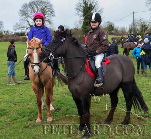 Photographed at the Tipperary Foxhounds charity cross country sponsored ride on Sunday, January 25, at Ballylusky, Drangan, are L to R: Kaycie Ahearne and Kaitlyn Ryan