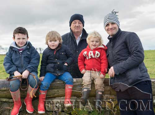 Photographed at the Tipperary Foxhounds charity cross country sponsored ride on Sunday, January 25, at Ballylusky, Drangan, in aid of Bridget Quigley, are L to R: Sam Coen, Jack Carroll, Michael McGrath, Harry Carroll and Michael Carroll. (Photos taken by Larry Kenny)
