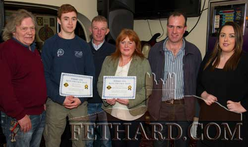 Photographed at the presentation of the Butler's Bar Fethard Sports Achievement Award for December are L to R: Michael 'Mouse' Morris (winner), Brien Delahunty, Jarleth 'Foxy' Connolly (special guest), Margaret and David Flanagan, and Ann Marie Butler (sponsor).