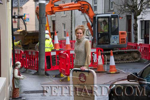 Emily Sayers photographed outside her Delicatessen in Burke Street where business is open as normal despite the road being blocked for the next two months