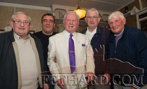 Photographed at the Kilnockin Emmets get-together in Lonergan's Bar are L to R: Sean Watts, Tom Fanning, Sean 'Glamour' Walsh, Mícheál De Faoite and Willie O'Grady.