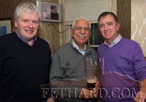 Photographed at the Kilnockin Emmets get-together in Lonergan's Bar are L to R: Jim Butler, Emil Totonchi and Paddy Kenrick.
