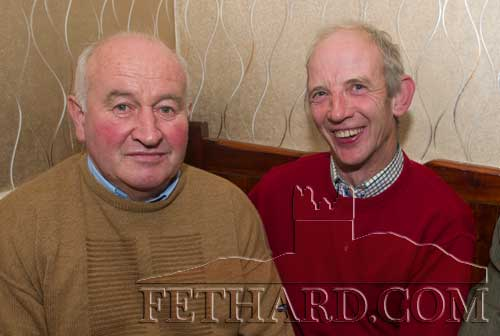 Photographed at the Kilnockin Emmets get-together in Lonergan's Bar are L to R: Brian Guiry and Seamus Barry.