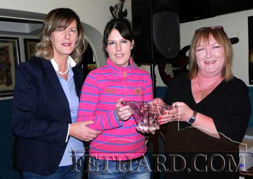 Butler's Sports Achievement Award winner for February was Liz Lalor who trained one and rode three winners during February, her first winner as a trainer. Photographed at the presentation were L to R: Trudy Kirwan (special sports guest), Deirdre Goggin who accepted the award on behalf of Liz Lalor; and Ann Butler (sponsor).