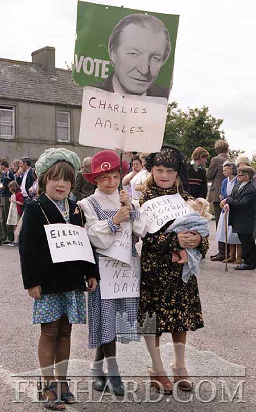 'Charlie's Angels' - Fethard Fancy Dress Parade 1981. L to R: Elizabeth Burke, Catriona Hackett and Mary Connolly.
