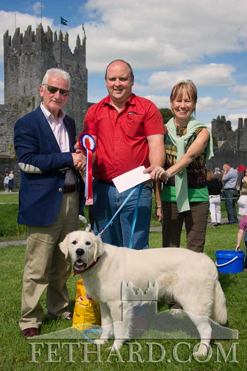 Winner of the overall 'Best in Show' at the Festival Dog Show was John Smullen (centre) and his dog 'George', receiving his prize from organisers Pat Culligan and Catherine Kearney.