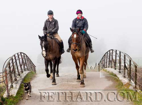 James and Antonia Coonan from Killusty riding out in the weekend's foggy weather at Grove.