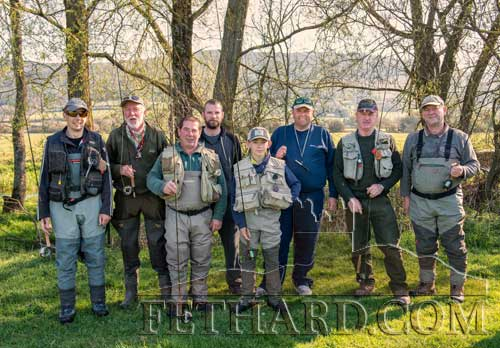 Taking part in Fethard and Killusty Anglers annual fishing competition held on the Anner river at Thorny Bridge are L to R: Sean Maher, John Lalor, Colin Hackett, John Fleming, Robert Hackett, Albert Adcock, Tom Fogarty and Paul Burke.