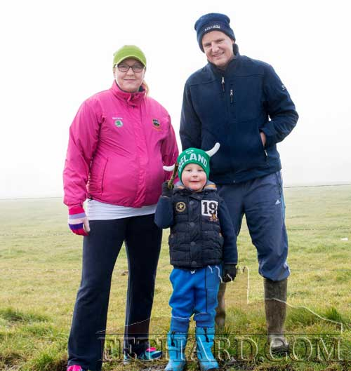 Enjoying a walk in the recent foggy weather are Jennifer Fogarty, Conor Prendergast and young Paul (in front)