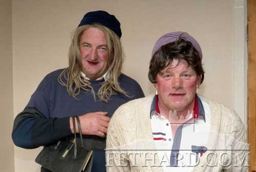 Mick Ahearn and Liam McCarthy dressed up as they were in the Fashion Show on the first night of Fethard Festival. July 1994