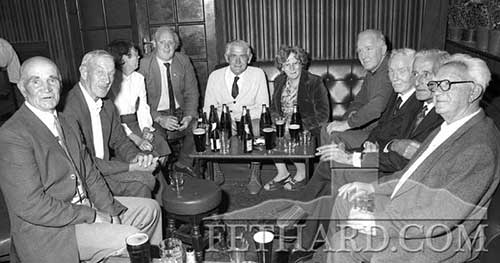 Photographed in the Fethard Arms (closed on December 28, 2014) at a GAA Book presentation to the late Mick Ahearne are L to R: Joe O'Dwyer, Mike Connors, Mary and Miceál McCormack, Paddy Murphy, Nell Murphy, Paddy  Ahearne, Jack Gunne, Dick Allen and Tom Barrett. Photo taken in July 1989.