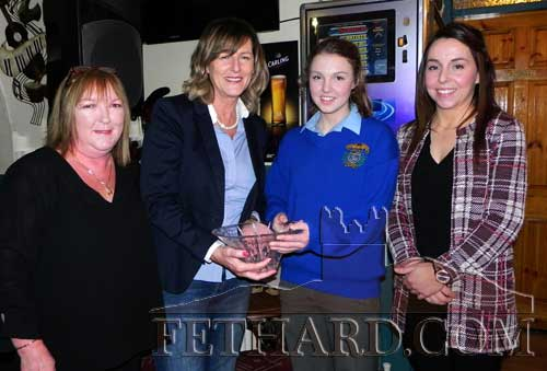 Butler's Sports Achievement Award winner for January was Fethard Patrician Presentation Cadette Volleyball Team who won the All-Ireland B Cadette Girls Volleyball final on January 29. Photographed at the presentation were L to R: Ann Butler (sponsor), Trudy Kirwan (special sports guest), Molly O'Meara (captain) who accepted the award on behalf of the team, and Helen Walsh (team coach).