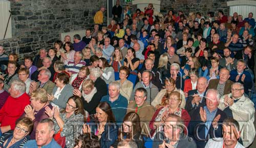 A section of the crowd attending the launch in a packed Abymill Theatre in Fethard